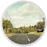 Country Road Round Beach Towel by Tom Gowanlock