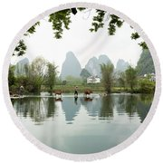 Country Side In Southern China Round Beach Towel