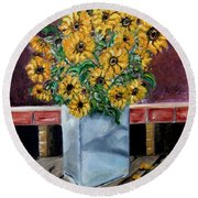 Country Still Life Round Beach Towel