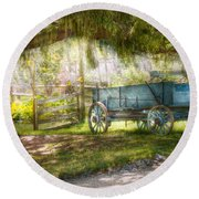 Country - The Old Wagon Out Back  Round Beach Towel