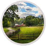 Country - The Pasture  Round Beach Towel by Mike Savad