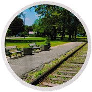 Country Train Station Round Beach Towel