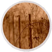 Countryside Fence Round Beach Towel