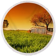 Countryside Orchard Landscape At Sunset. Spring Time Round Beach Towel