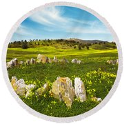 Countryside With Stones Round Beach Towel