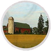 County Barn - Digital Painting Effect Round Beach Towel