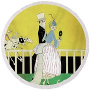 Couple At The Races, 1916 Round Beach Towel
