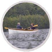 Couple Boating On Lake, Maine, Usa Round Beach Towel