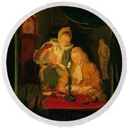 Couple Counting Money By Candlelight, 1779 Panel Round Beach Towel