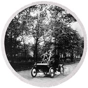 Couple Driving, C1907 Round Beach Towel