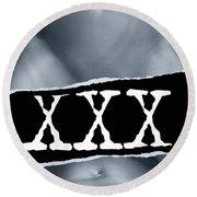 Couple Making Love And Xxx Sign Black And White Round Beach Towel