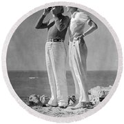 Couple On The Maine Shore Round Beach Towel
