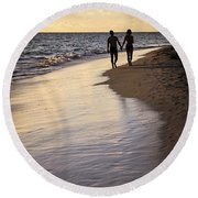 Couple Walking On A Beach Round Beach Towel