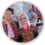Couples In Polish National Costumes Round Beach Towel