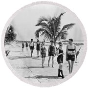 Couples Strolling Along The Pathway On The Beach. Round Beach Towel