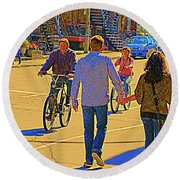 Couples Summer In The City Walking Biking Strolling With Baby Carriage Art Of Montreal Street Scene Round Beach Towel