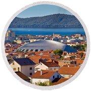 Coupola Sports Hall Landmark In Zadar Round Beach Towel