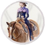 Horse Painting Cowgirl Courage Round Beach Towel
