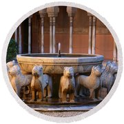 Court Of The Lions In The Alhambra Round Beach Towel