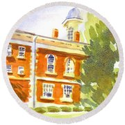 Courthouse In August Sun Round Beach Towel