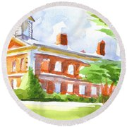 Courthouse In Summery Sun Round Beach Towel