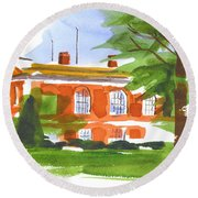 Courthouse On A Summers Evening Round Beach Towel
