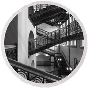 Courthouse Staircases Round Beach Towel
