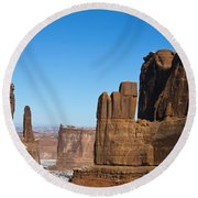 Courthouse Towers Arches National Park Utah Round Beach Towel