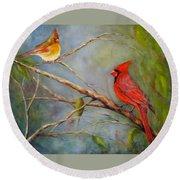 Courting Cardinals, Birds Round Beach Towel