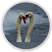 Courting Swans Round Beach Towel