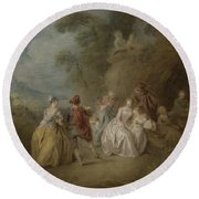 Courtly Scene In A Park, C.1730-35 Round Beach Towel