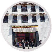 Courtyard Entry To Potala Palace In Lhasa-tibet Round Beach Towel