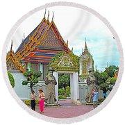 Courtyard In Wat Po In Bangkok-thailand Round Beach Towel