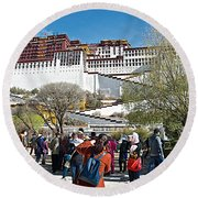 Courtyard Of Potala Palace In Lhasa-tibet Round Beach Towel