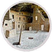Courtyard Of Spruce Tree House On Chapin Mesa In Mesa Verde National Park-colorado  Round Beach Towel