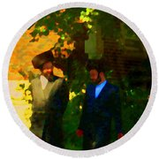 Covenant Conversation Two Men Of God Hasidic Community Montreal City Scene Rabbinical Art Carole Spa Round Beach Towel