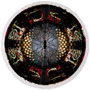 Coventry Cathedral Windows Montage Round Beach Towel
