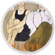 Cover Of Harpers Magazine, 1896 Round Beach Towel