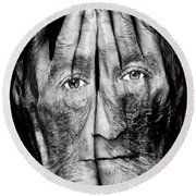 Cover Thy Faces Round Beach Towel