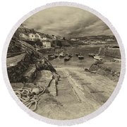 Coverack Harbour  Round Beach Towel