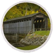 Covered Bridge In Fall Round Beach Towel