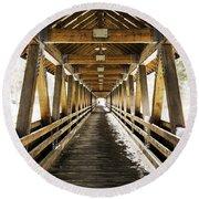 Covered Bridge Littleton New Hampshire Round Beach Towel