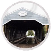 Covered Bridge North Conway Sacco River Round Beach Towel