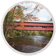 Covered Bridge Over Swift River Round Beach Towel
