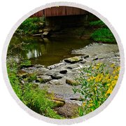 Covered Bridge Round Beach Towel by Frozen in Time Fine Art Photography