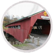 Covered Bridge Taftsville Round Beach Towel