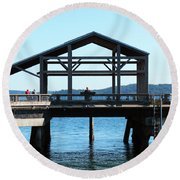 Covered Pier At Port Townsend Round Beach Towel
