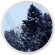 Covered Snow Trees Round Beach Towel