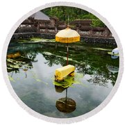 Covered Stones With Umbrella In Ritual Round Beach Towel