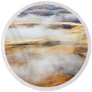 Covering The Gold Round Beach Towel by Mike  Dawson